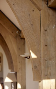 oak peg joint, oak frame, timber frame, green oak, arch brace truss, carpenter, carpentry