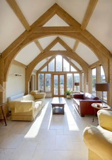 extension, timber frame, oak frame, green oak, arch brace truss, carpentry, oak, carpenter, conservatory