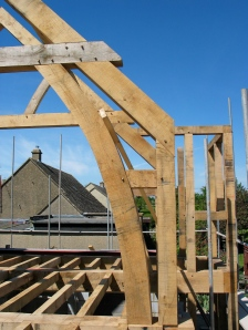 roof truss, green oak, timber frame, oak frame, extension, carpentry, carpenter