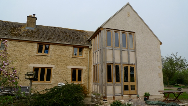 extension, green oak, oak frame, timber frame, timber framing