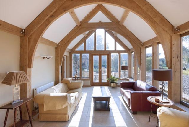 arch brace truss, timber frame, oak frame, green oak, roof truss