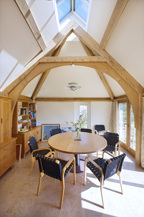 oak frame, timber frame, green oak, kitchen, extension, arch brace truss