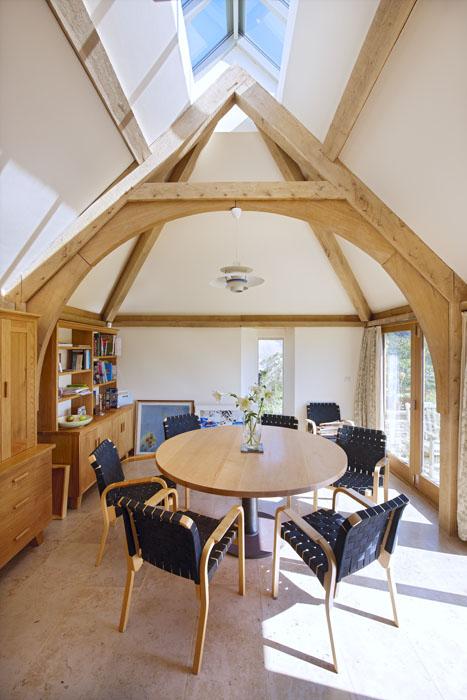 oak frame, timber frame, green oak, kitchen, extension, arch brace truss