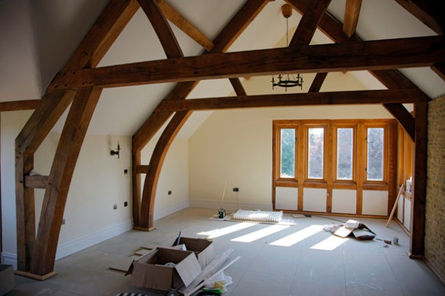 timber frame, roof truss, green oak, oak frame, extension