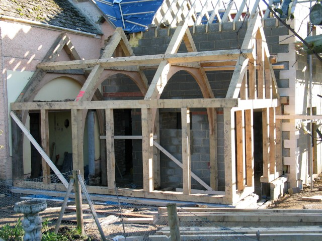arch brace truss, timber frame, oak frame, green oak, roof truss