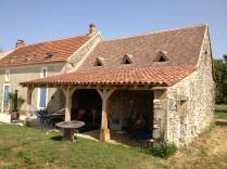 barn conversion, Dordogne, France, oak timber frame, outeau, veranda