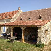 barn conversion, Dordogne, France, oak timber frame, outeau, veranda