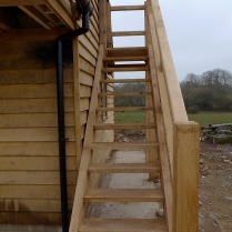 oak staircase, green oak, timber frame, external staircase, Dordogne, France, outdoor structures