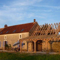 barn conversion, timber framing, oak timber frame, oak roof frame, oak veranda, traditional timber frame, France, Dordogne