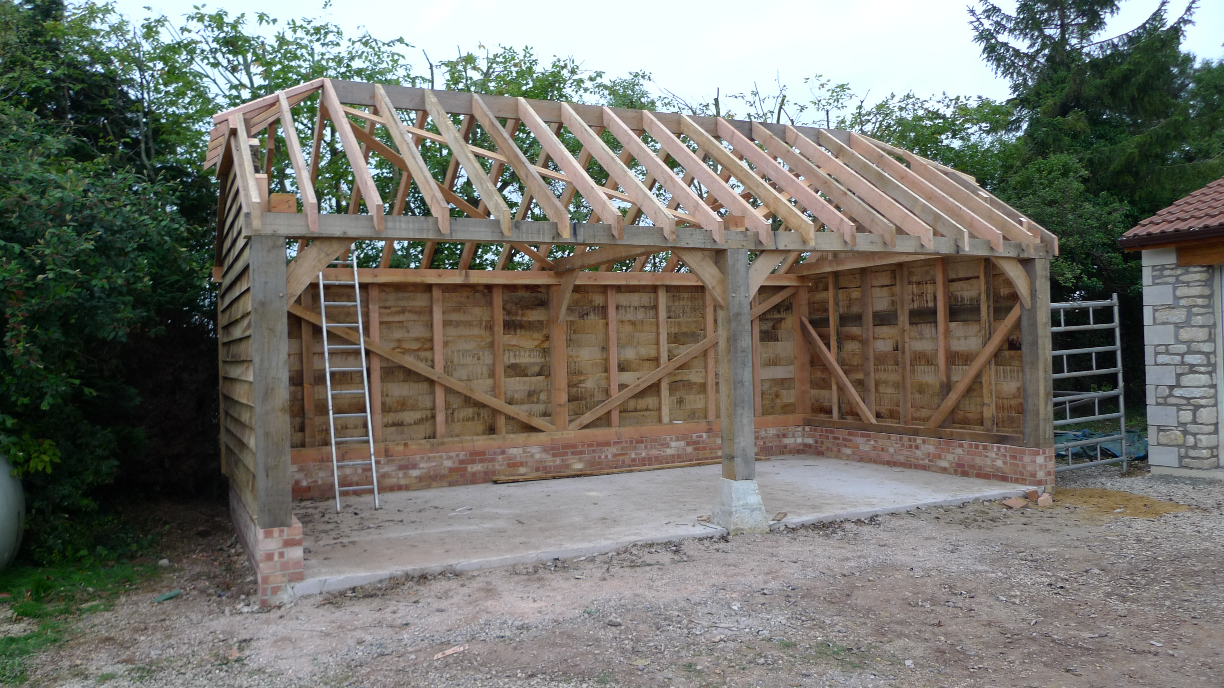 Garages and car ports oak timber framing carpentry in for A frame garage