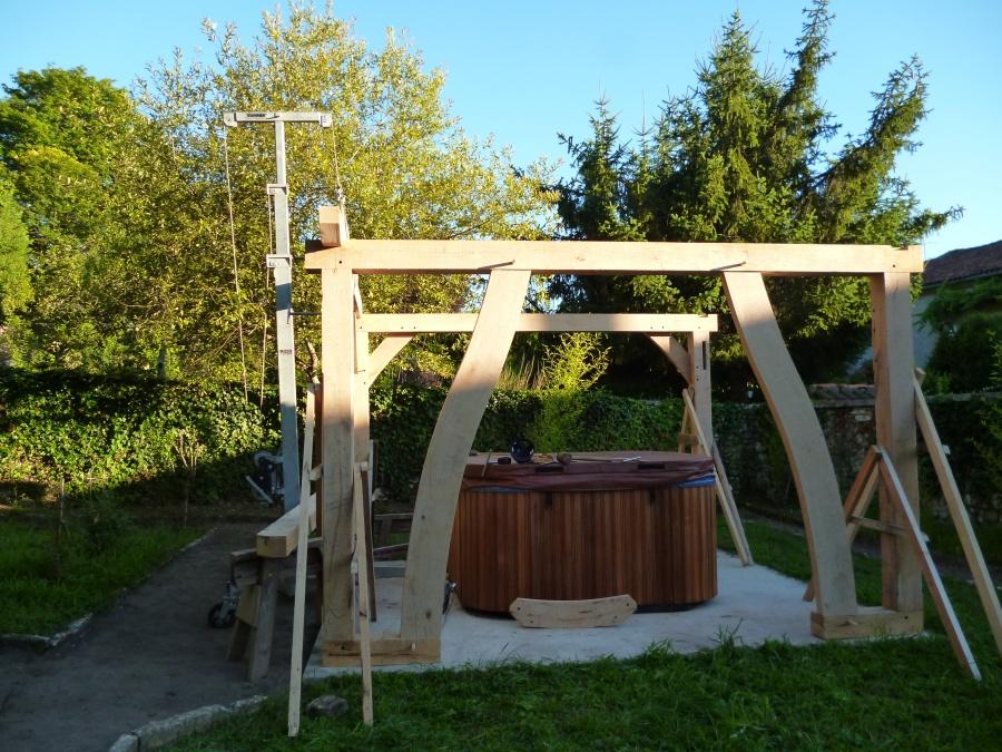 pergola, oak frame, timber frame, timber framing, carpenter, Dordogne, France