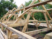oak timber frame, timber framing, barn, traditional barn, France, Dordogne