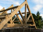 oak, green oak, timber frame, traditional, timber roof frame, king post, roof truss, oak framed building
