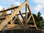 oak, green oak, timber frame, traditional, timber roof frame, king post, roof truss, oak framed building