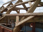 oak, green oak, timber frame, traditional, timber roof frame, barn conversion, roof truss, oak framed building
