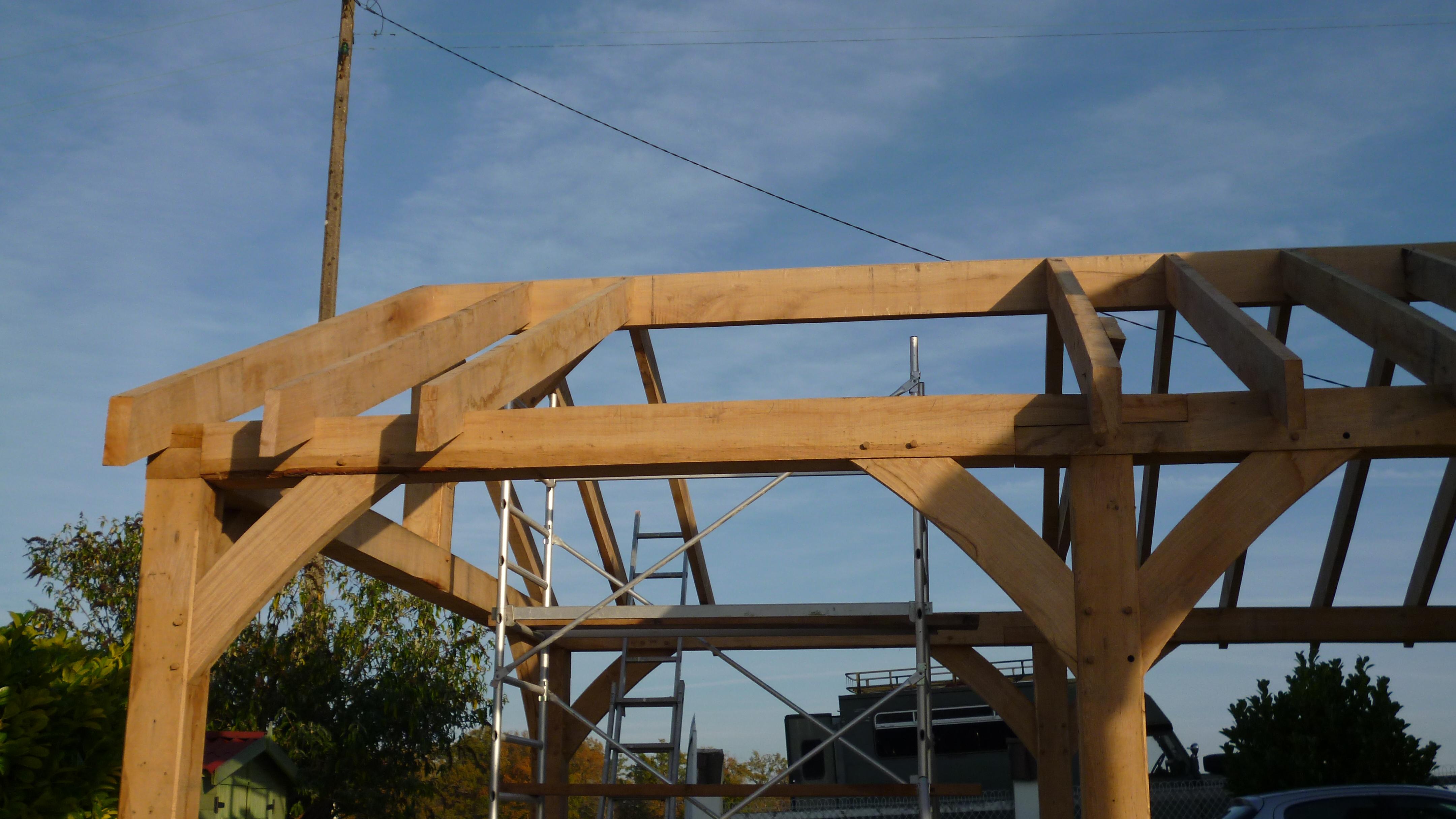Abri voiture en ch ne vert oak timber framing for Abri de jardin france