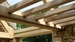 aménagement de grange, véranda, charpente traditionnelle, chêne vert, ossature en bois