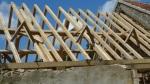 timber framed roof, oak frame, green oak, roof truss, Dordogne, France, traditional timber frame
