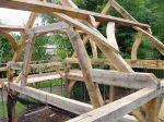 charpente de toit, charpente traditionnelle, ferme, chêne, chêne vert, toiture, grange, France, Dordogne