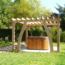 oak framed pergola, timber framing, oak frames, Dordogne, France, green oak, garden structure