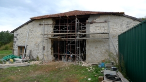barn conversion, barn renovation, oak lintel, timber framing, France renovation