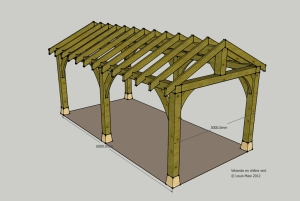 oak veranda, timber frame design, planning, carpenter, carpentry, France, Dordogne, planning applications