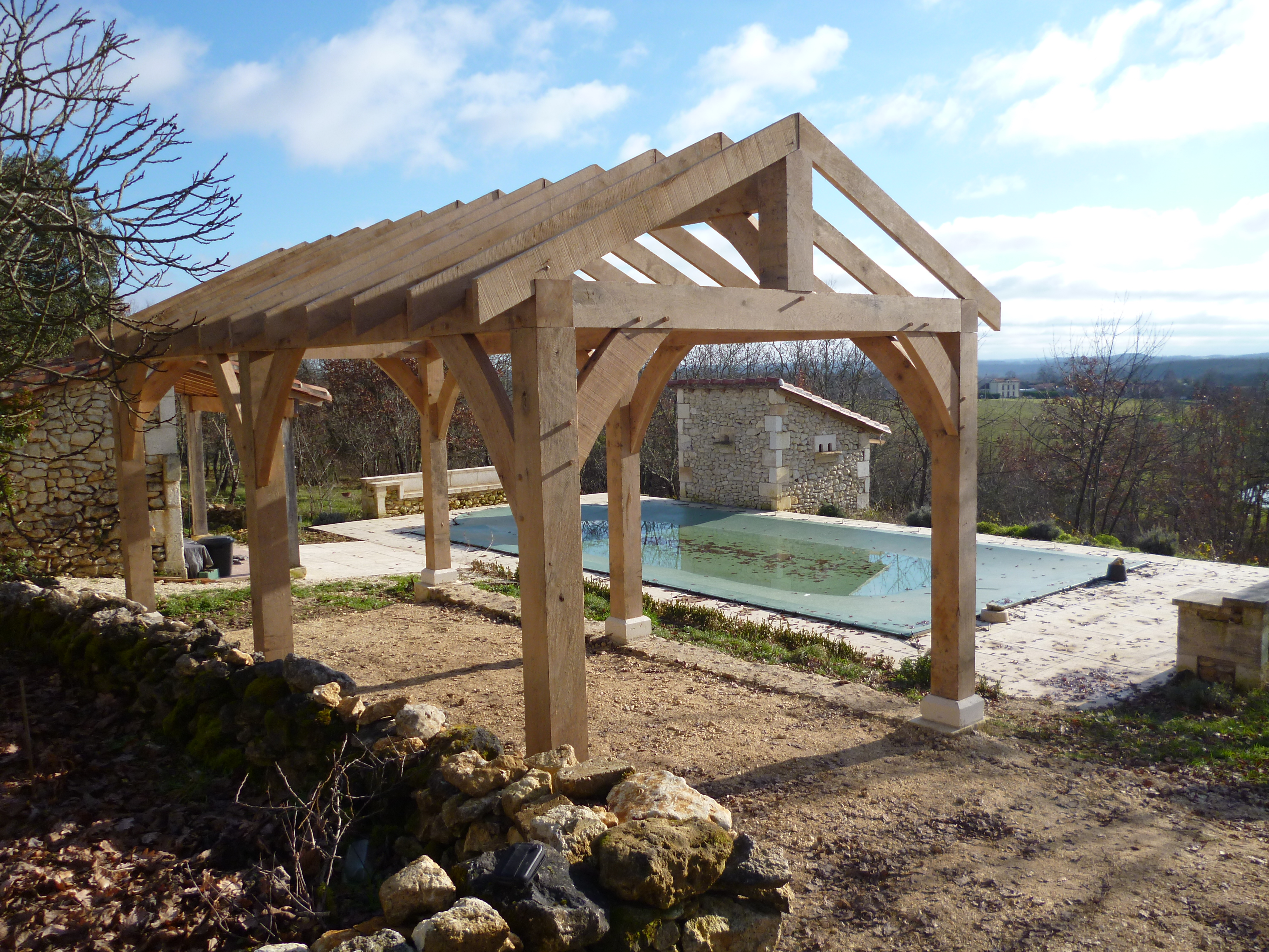 Oak veranda with view   Oak Timber Framing & Carpentry in France